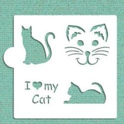 画像1: ステンシルプレート 猫